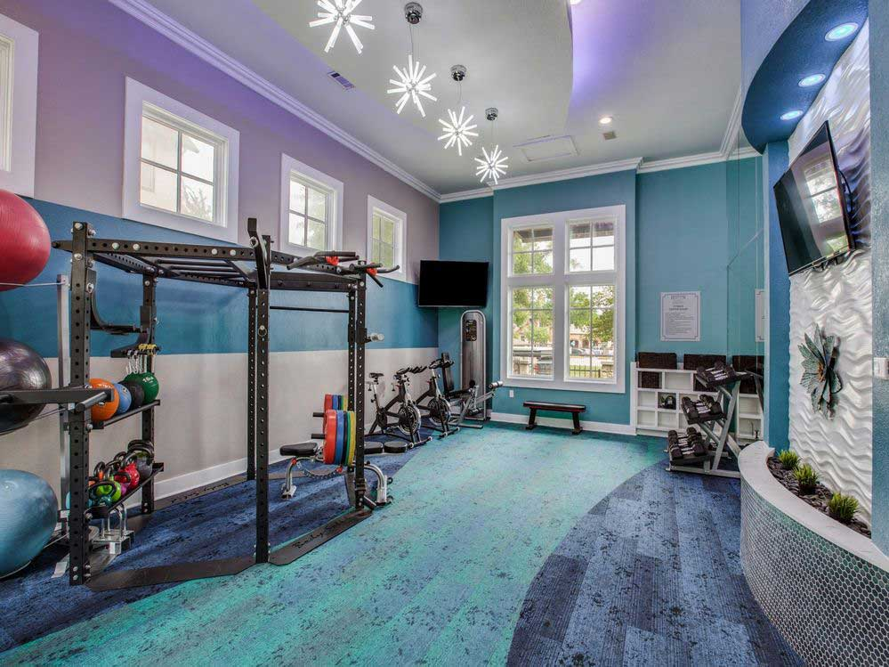 Fitness Center with Free Weights at Hidden Lakes Apartments in Haltom City, Texas