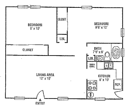 Highland Hills - Floorplan - Two Bedroom One Bath