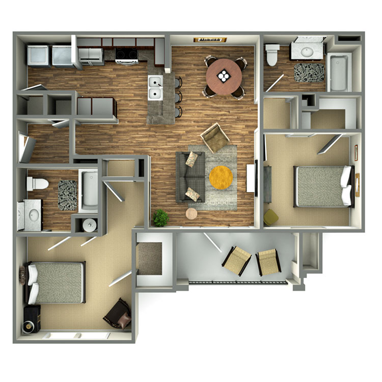 Highland Ridge Apartment Homes - Floorplan - 2 BED/2 BATH MARKET
