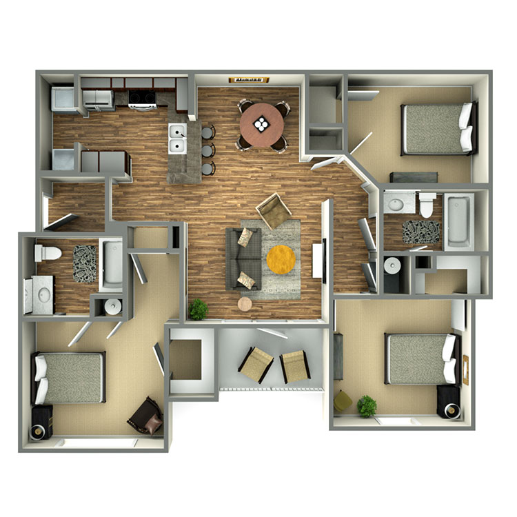 Highland Ridge Apartment Homes - Floorplan - 3 Bed/2 Bath Tax Credit 60%