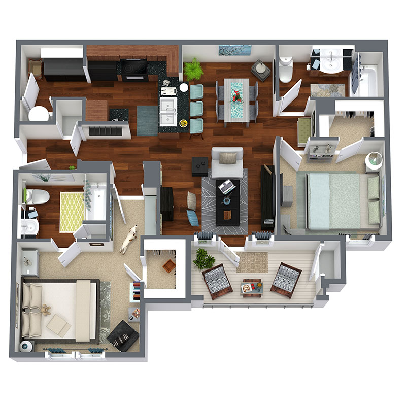 Highland Ridge Apartment Homes - Floorplan - Broadway - Upgraded