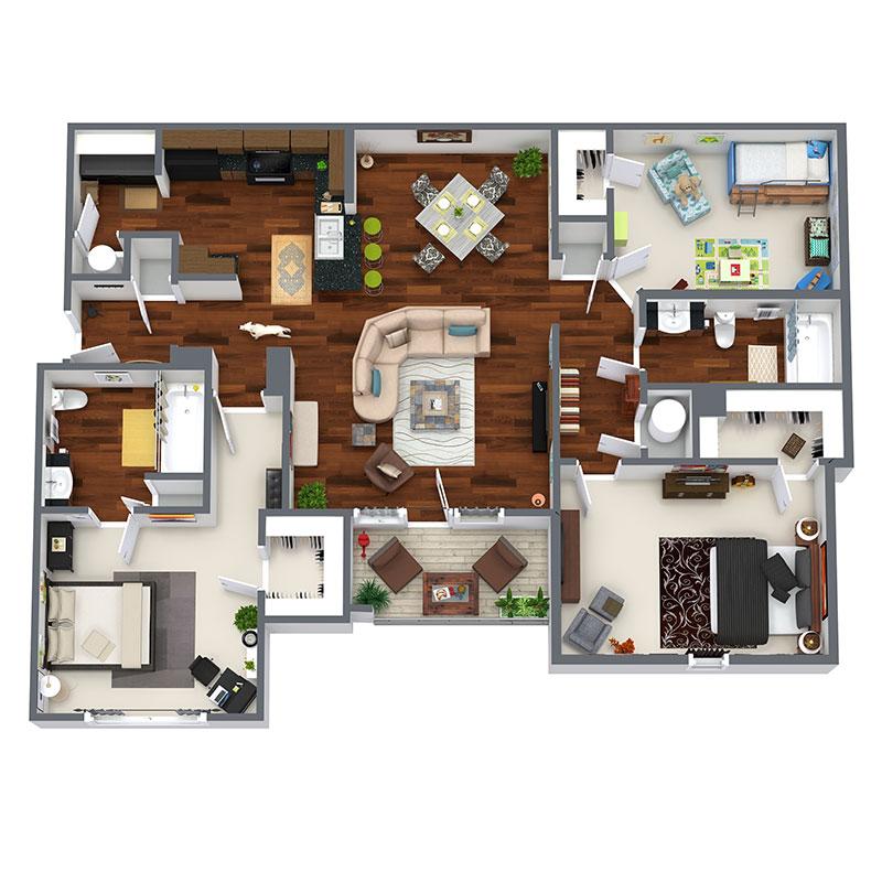 Highland Ridge Apartment Homes - Floorplan - Liberty - Upgraded