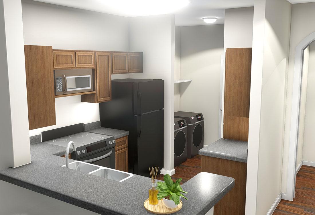 Updated Kitchen at Highland Ridge Apartments in Manhattan, Kansas
