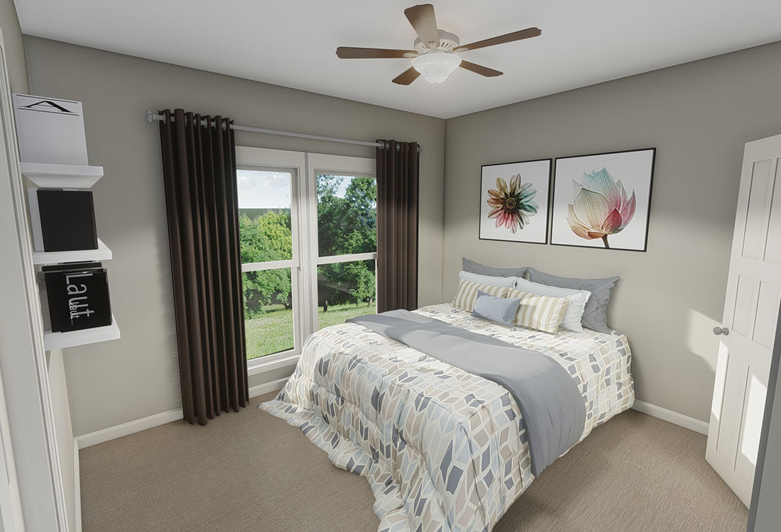 Updated Bedroom at Highland Ridge Apartments in Manhattan, Kansas