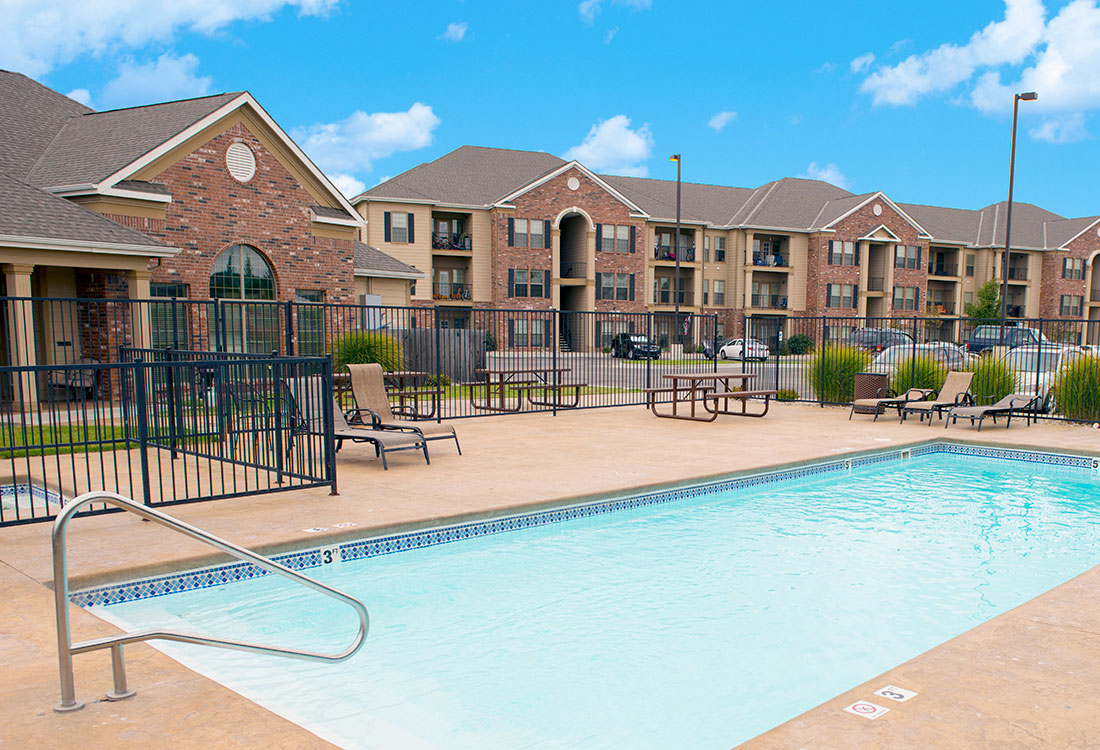 Sparkling Pool at Highland Ridge Apartments in Manhattan, Kansas