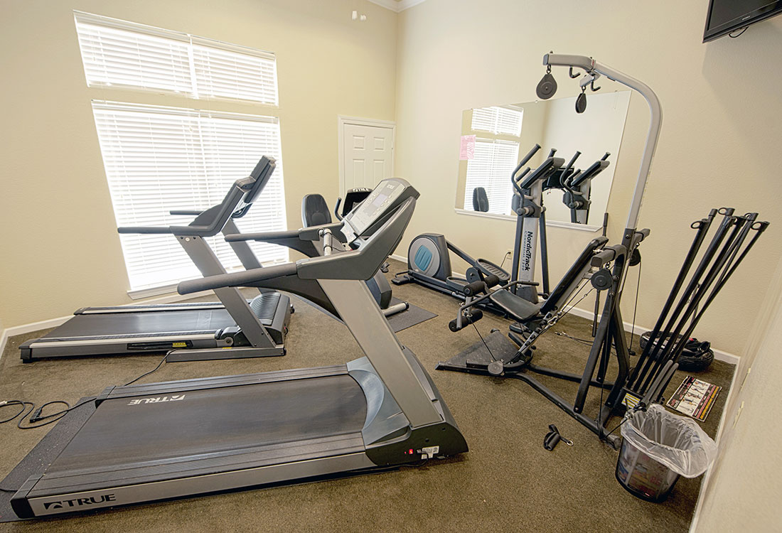 Modern Fitness Center at Highland Ridge Apartments in Manhattan, Kansas