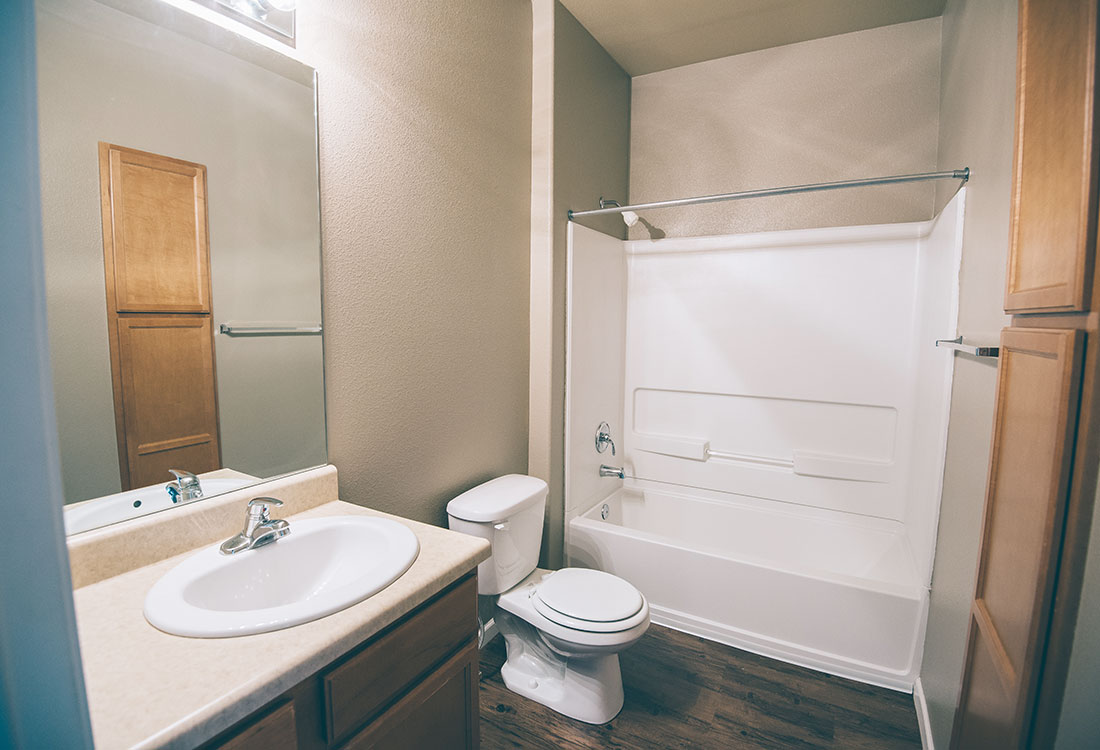 Large Bathrooms with Vanities at Highland Ridge Apartments in Manhattan, Kansas