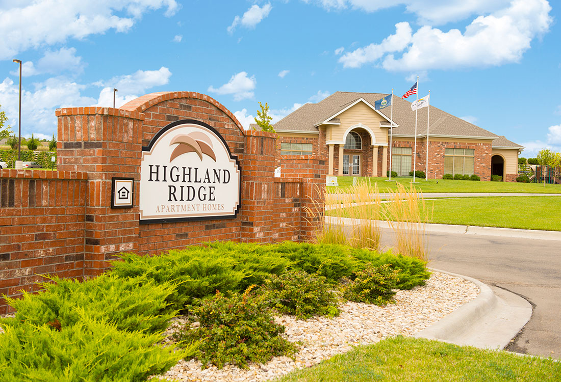 Welcome Sign at Highland Ridge Apartments in Manhattan, Kansas