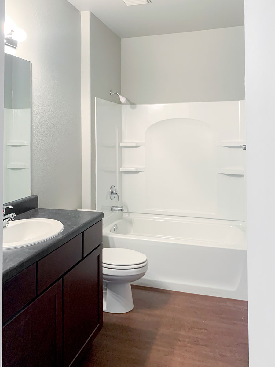 Updated Bathroom at Highland Ridge Apartments in Manhattan, Kansas