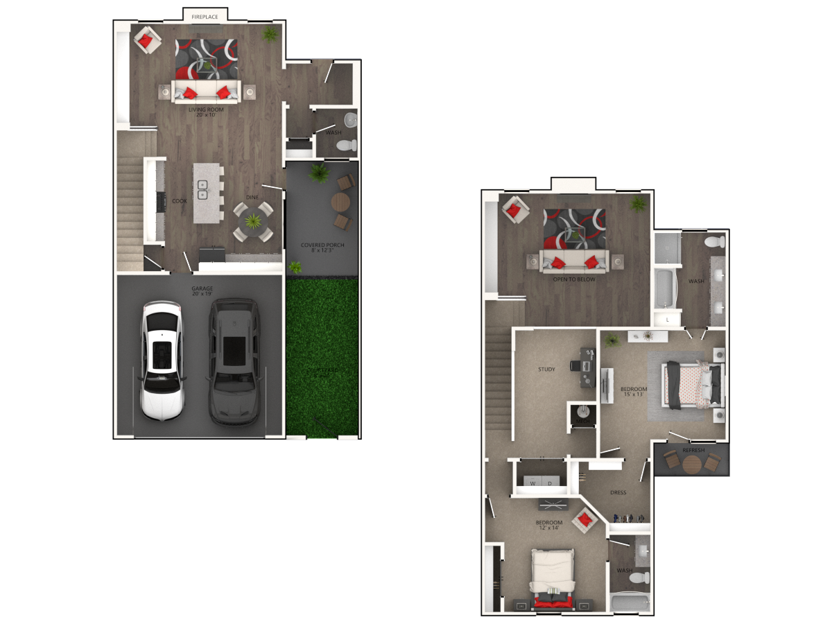 The District at Highland Village - Floorplan - Texoma- Townhome