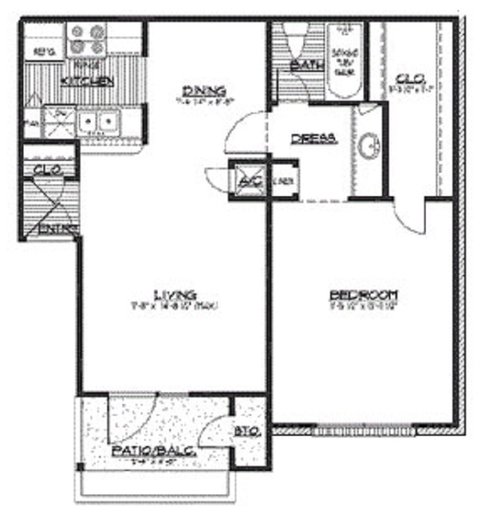 HollyView Apartments - Floorplan - The Cypress