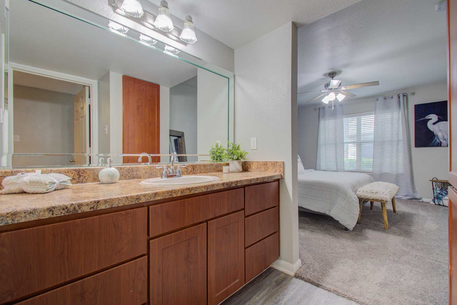Bathroom at HollyView Apartments in Houston, TX