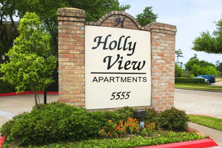 Welcome Sign at the Holly View Apartments in Houston, TX