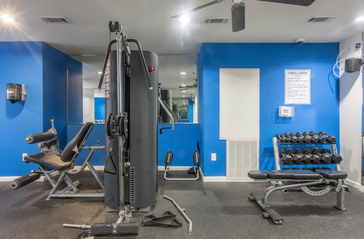 Fitness Center with Free Weights and a Cable Machine at HollyView Apartments in Houston, TX