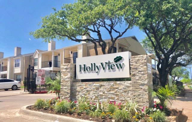 Entrance Sign at HollyView Apartments in Houston, TX