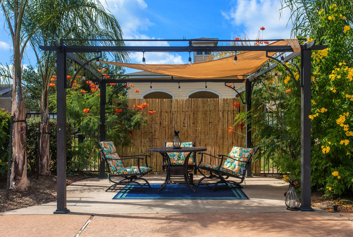 Poolside Cabana Area at HollyView Apartments in Houston, TX