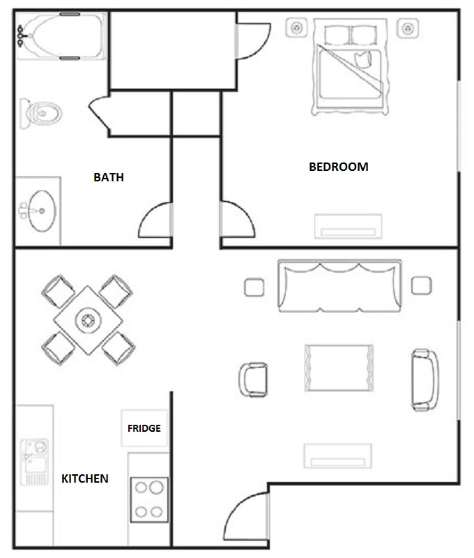 Hunters Point Apartments   Floorplan   1 Bedroom