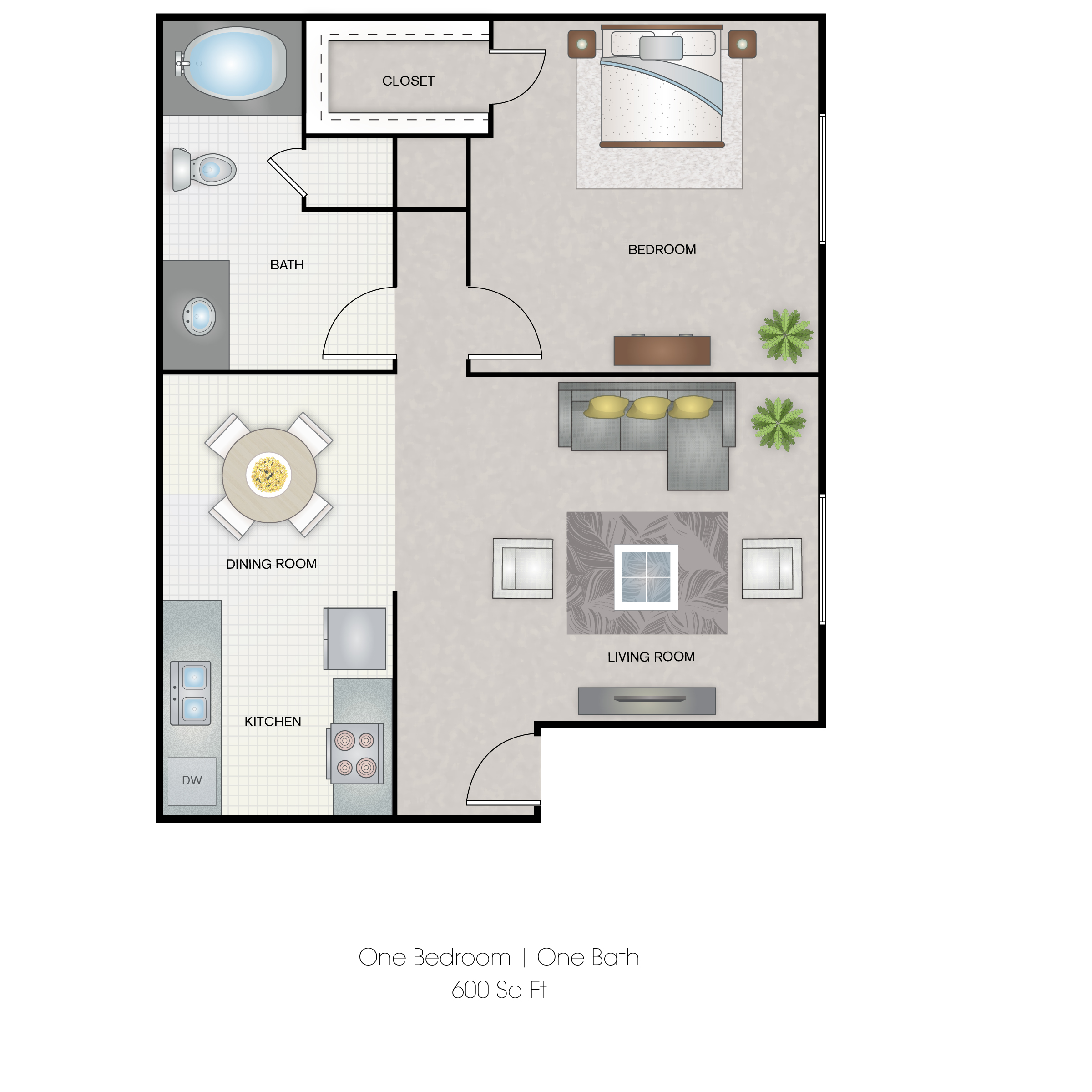 Hunters Point Apartments - Floorplan - 1 Bedroom