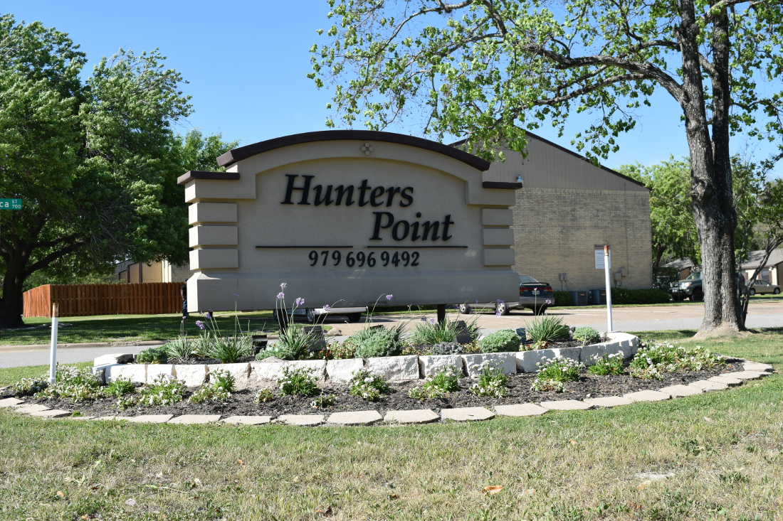 Property Sign at The Hunters Point Apartments in College Station, TX