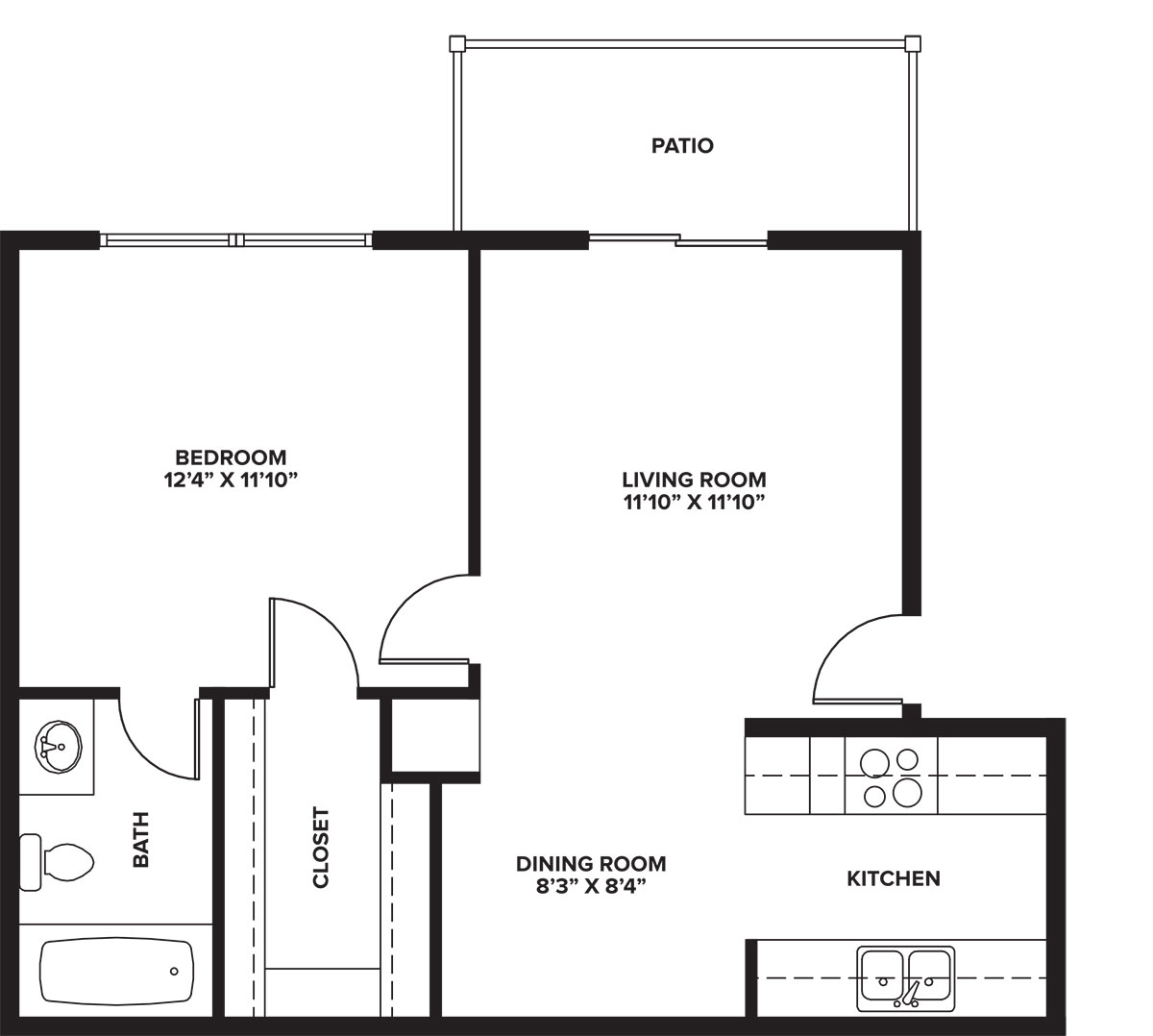 Indian Run Apartments - Floorplan - 1-1 A