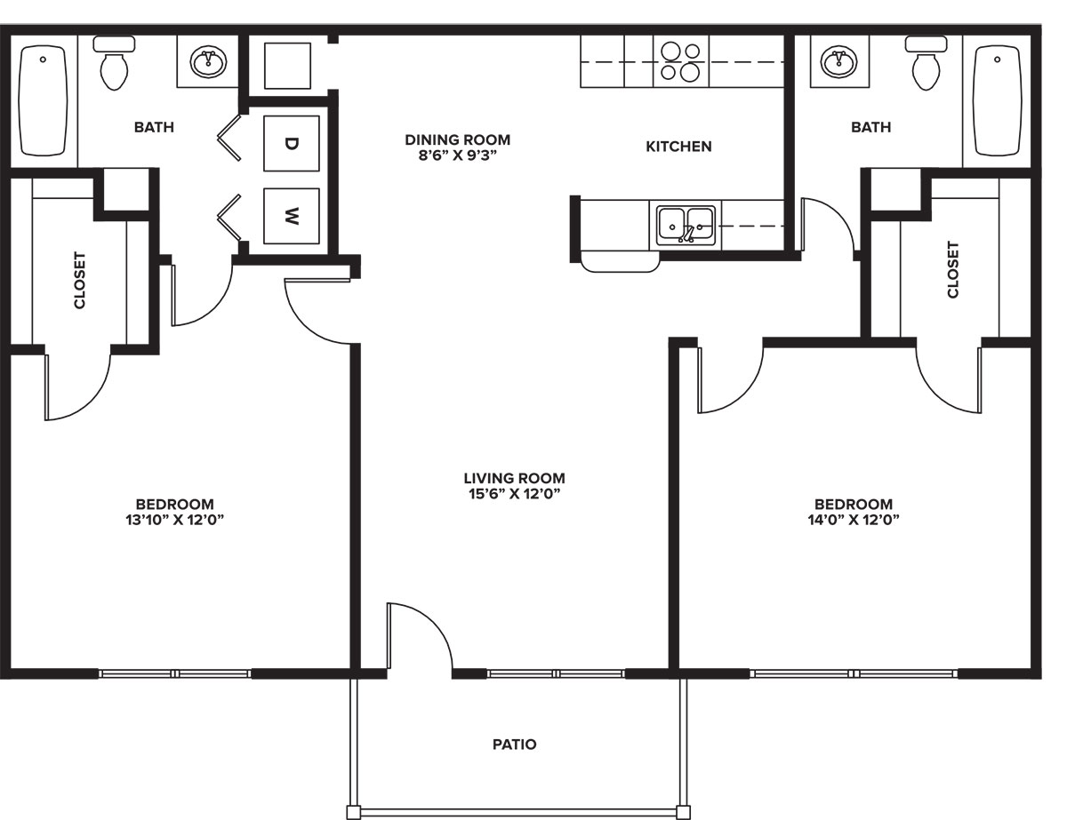 Indian Run Apartments - Floorplan - 2-2 B
