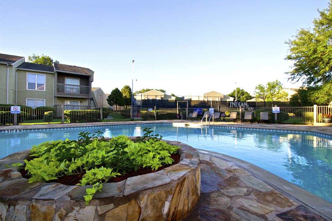 Pool Lounge Area at Indian Run Apartments in Abilene, TX