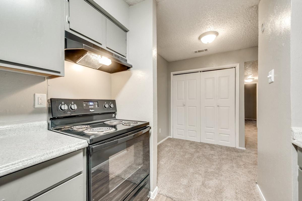 Black Kitchen Appliances at Indigo Apartments in Dallas, TX