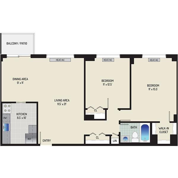 Iverson Towers & Anton House Apartments - Floorplan - 2 Bedrooms + 1 Bath