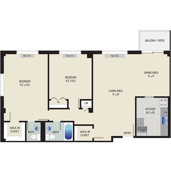 Iverson Towers & Anton House Apartments - Floorplan - 2 Bedrooms + 1.5 Baths