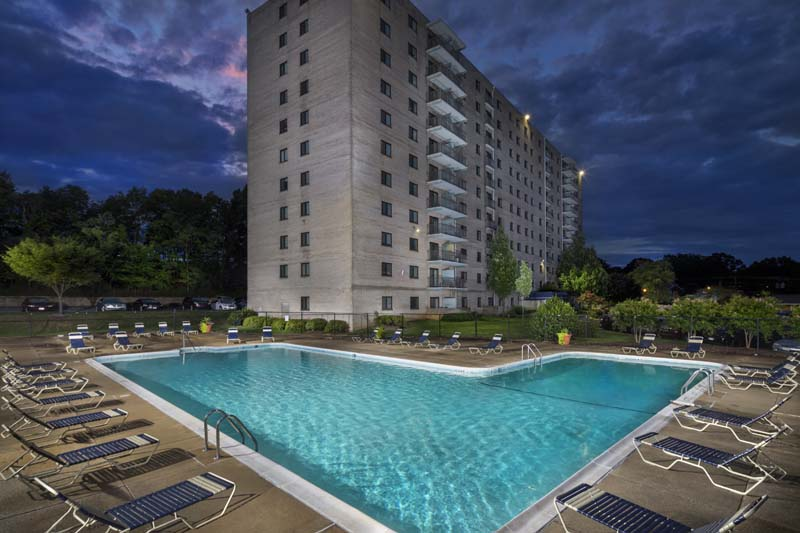 Relaxing swimming pool at Iverson Towers & Anton House Apartments in Temple Hills, MD