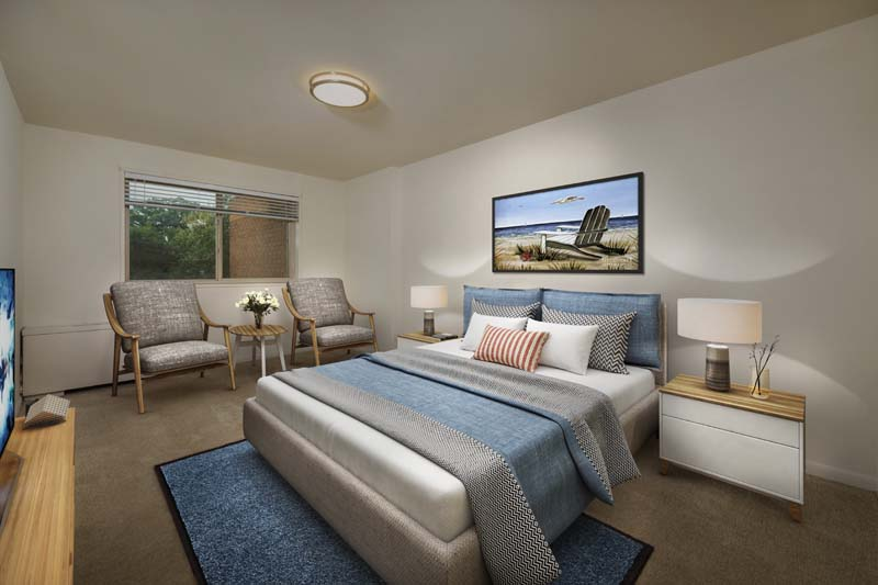 Comfortable private bedroom at Iverson Towers & Anton House Apartments
