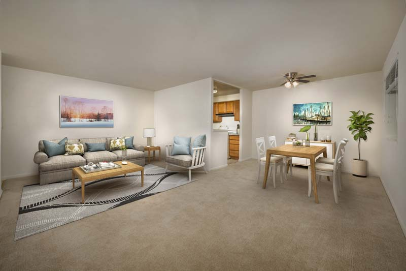 Spacious living and dining area at Iverson Towers & Anton House Apartments