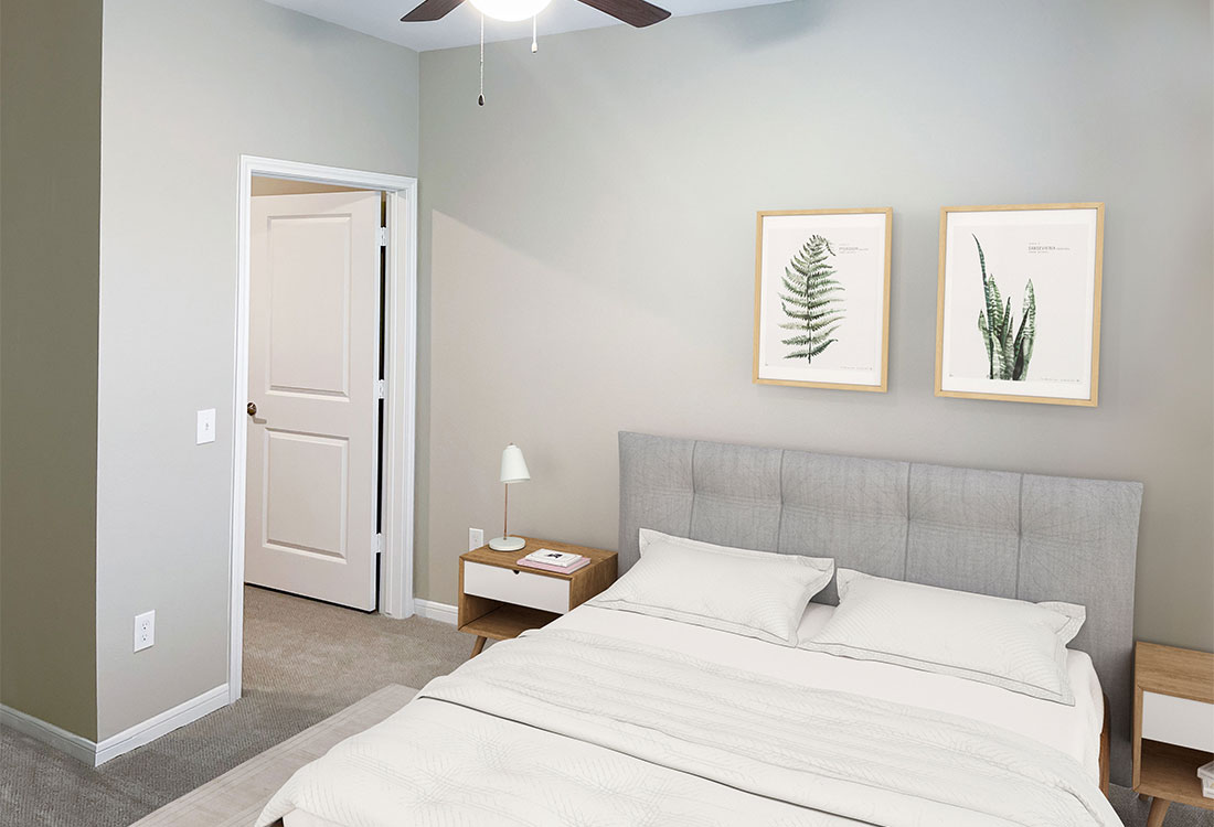 Bedrooms with Ceiling Fans at Jubliee at Texas Parkway Apartments in Missouri City, Texas