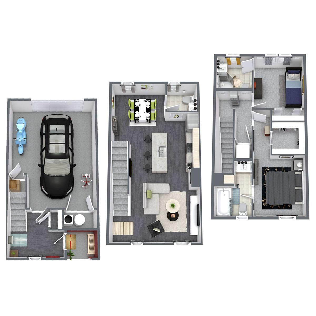 Floorplan - Birch - 1 Bedroom with Den image