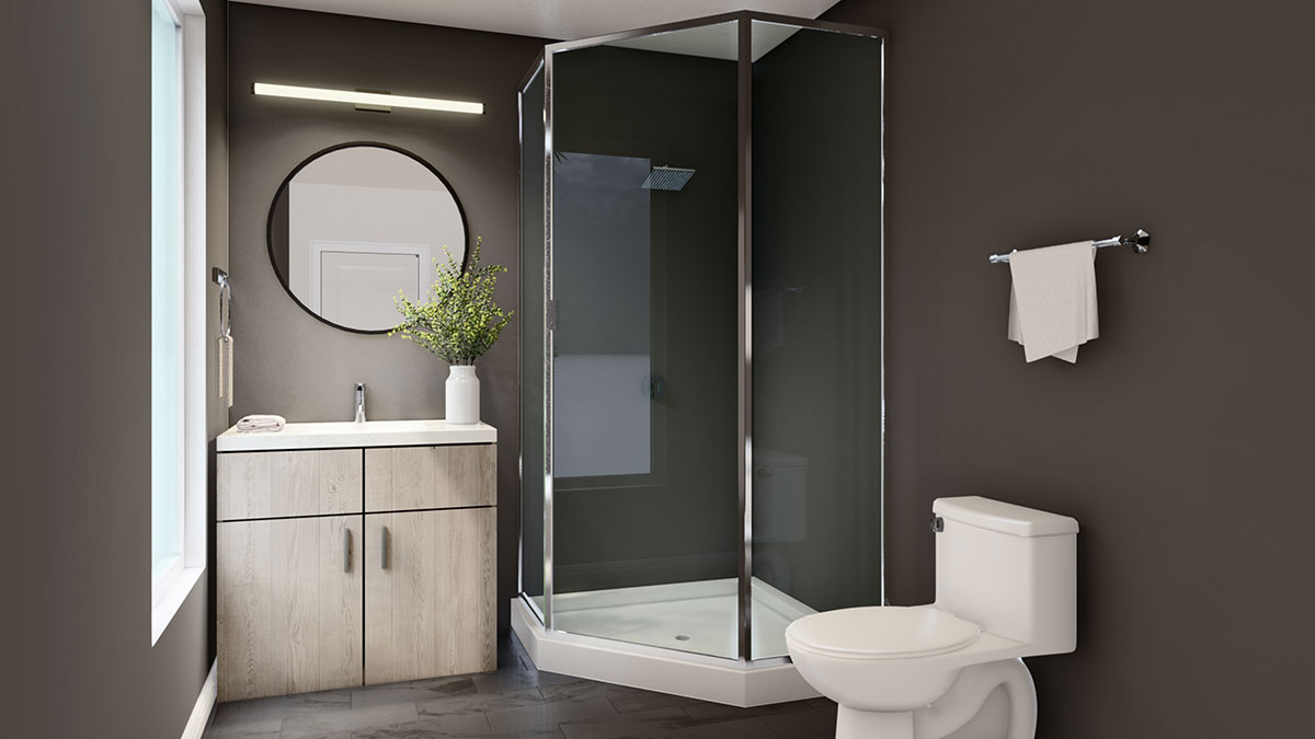 Modern Bathrooms at Juniper Rows at Deer Creek Apartments in Omaha, NE