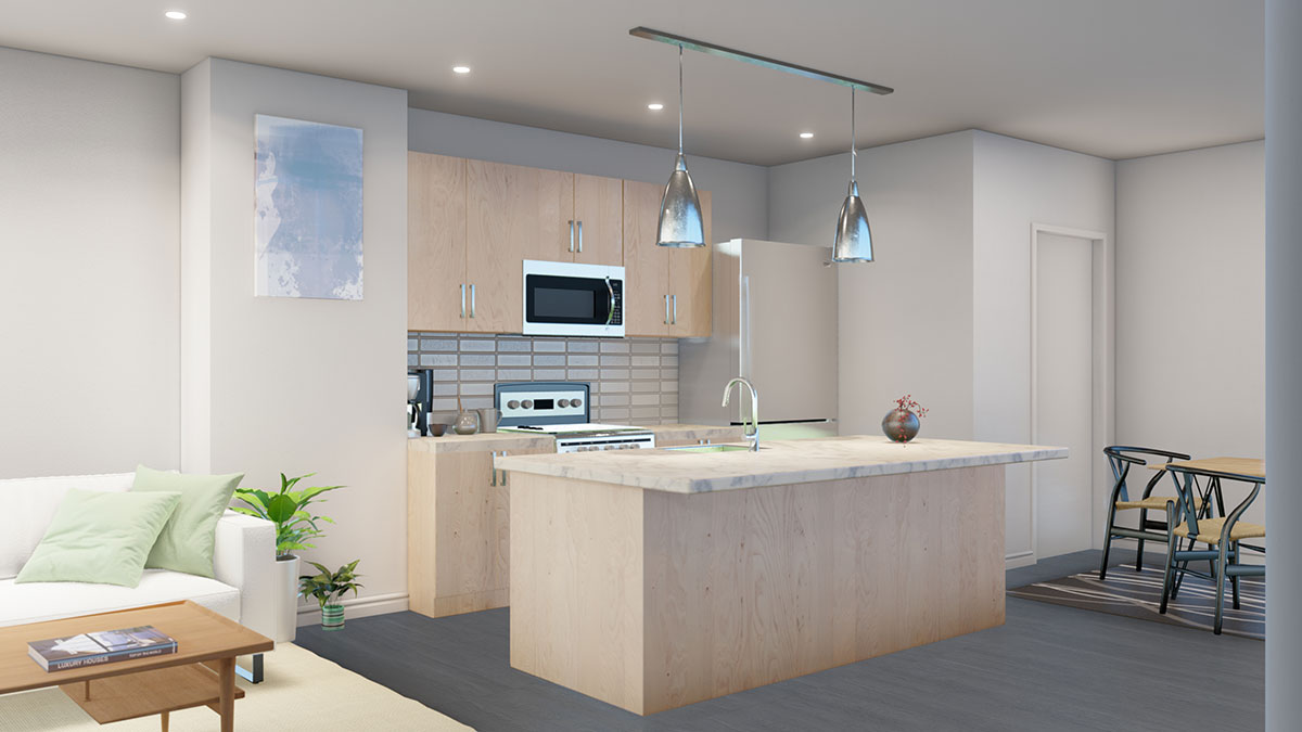 Kitchens with Stainless Steel Appliances at Juniper Rows at Deer Creek Apartments in Omaha, NE