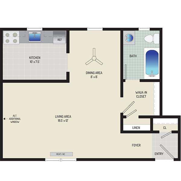 Kaywood Gardens Apartments - Floorplan - Studio
