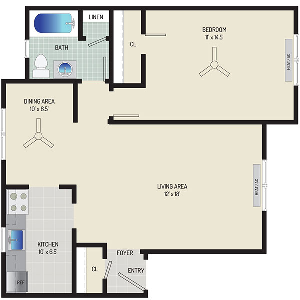 Kaywood Gardens Apartments - Floorplan - 1 Bedroom + 1 Bath