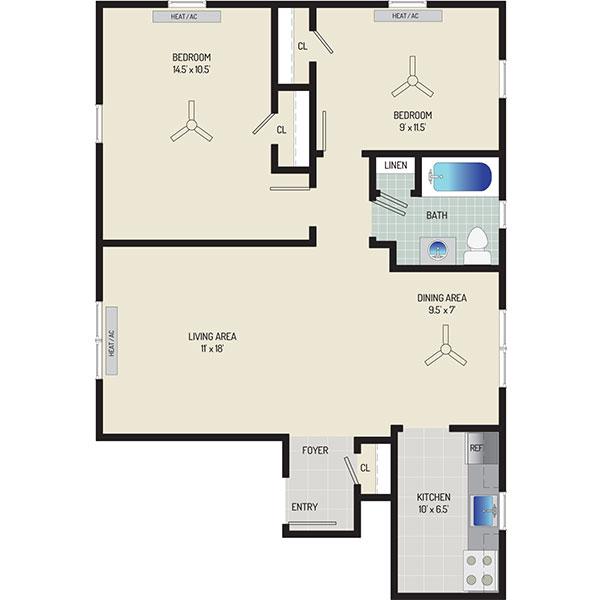 Kaywood Gardens Apartments - Floorplan - 2 Bedrooms + 1 Bath