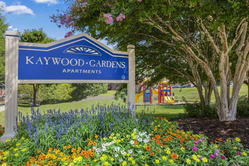 Beautiful landscaping at Kaywood Gardens Apartments in Mount Rainier, MD