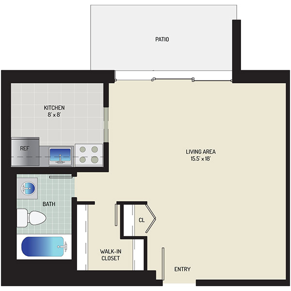 Kenilworth Towers Apartments - Floorplan - Studio