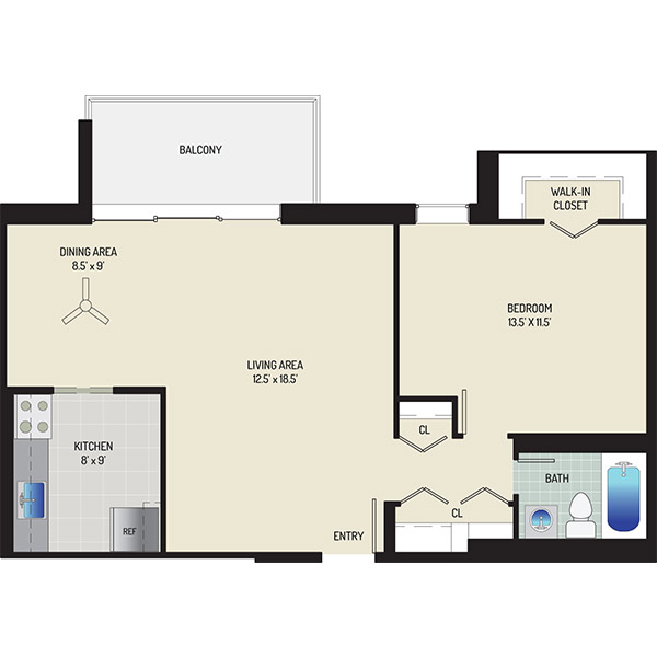 Kenilworth Towers Apartments - Floorplan - 1 Bedroom + 1 Bath