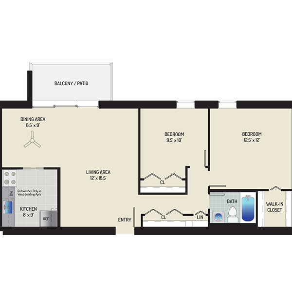 Kenilworth Towers Apartments - Floorplan - 2 Bedrooms + 1 Bath