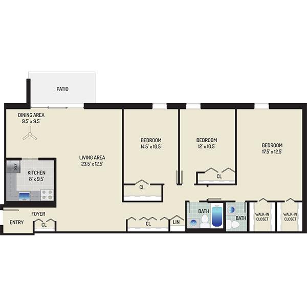 Kenilworth Towers Apartments - Floorplan - 3 Bedrooms + 1.5 Baths