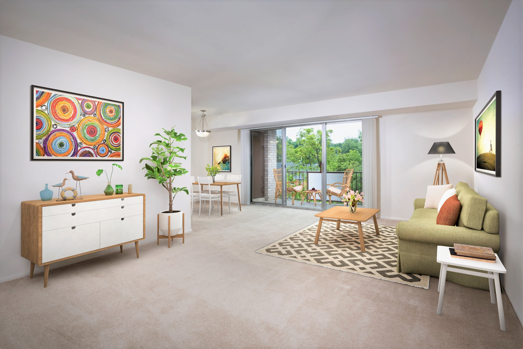 Spacious living and dining area at Kenilworth Towers Apartments in Bladensburg, MD