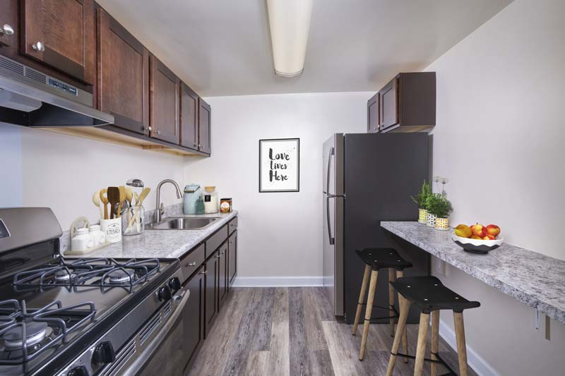 Upgraded kitchen available at Kenilworth Towers Apartments in Bladensburg, MD