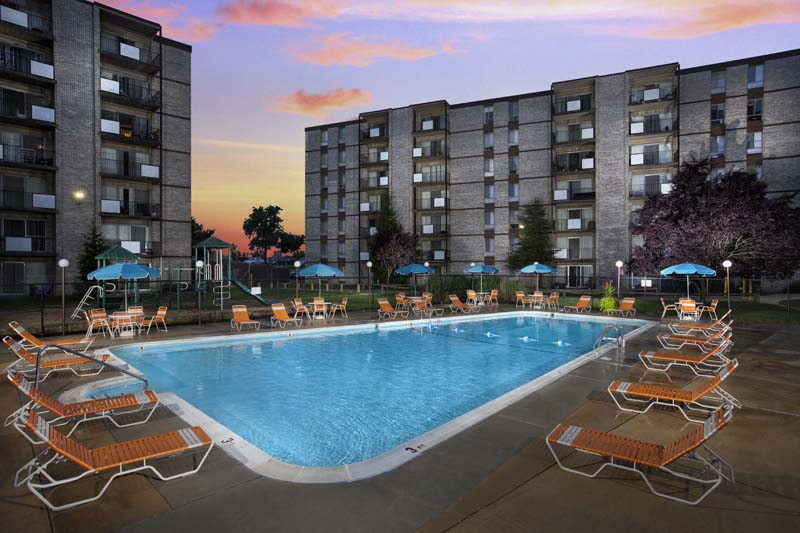Relaxing swimming pool at Kenilworth Towers Apartments in Bladensburg, MD