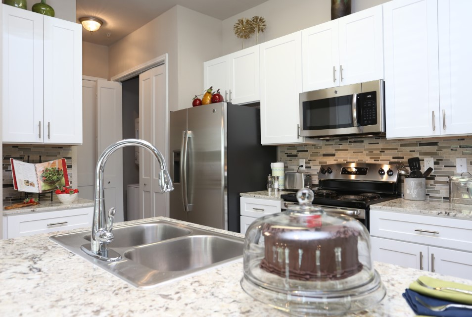 Frost-White Granite Countertops at King's Cove Apartments in Kingwood, Texas