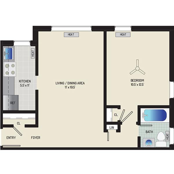 Kirkwood Apartments - Floorplan - 1 Bedroom, 1 Bath