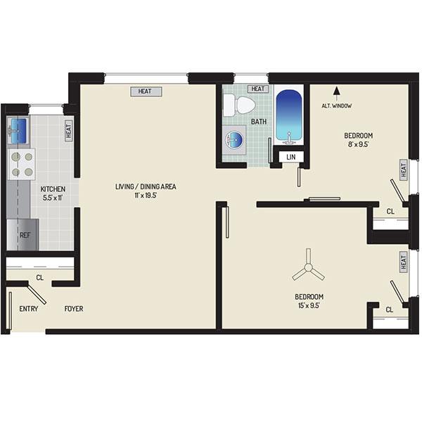 Kirkwood Apartments - Floorplan - 2 Bedrooms, 1 Bath